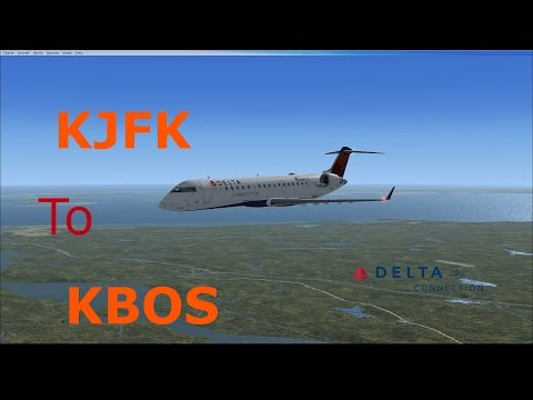 FSX CRJ-700 Delta Connection Afternoon Arrival to KBOS w/ATC (720P HD)