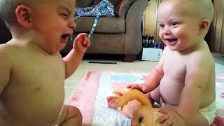FUNNIEST TWIN BABIES Fighting over Doll!