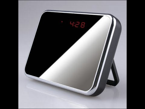 DEMO VIDEO  Mirror Face SPY cam Table Clock  Camera DVR Remote Control Hidden wireless