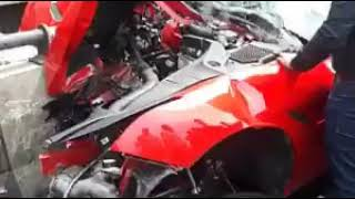 Ferrari car crashed in road accident | Video by- VIDEO WORLD