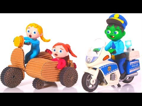 FUNNY KIDS RIDE A SIDECAR ❤ Play Doh Cartoons For Kids