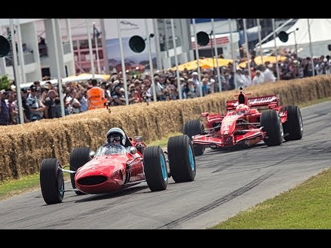 Kimi Raikkonen and John Surtees - Ferrari F1 champions at Festival of Speed together!