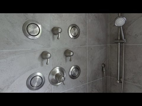 (part-1) MOEN TS276 Custom vertical SPA shower system installation. sprayers. hand held 3/4