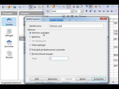 08 OpenOffice Base: Daten von CSV über Calc nach Base importieren
