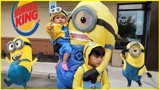 Minion Driving to Burger King For Happy Meal | Minions Family in real life