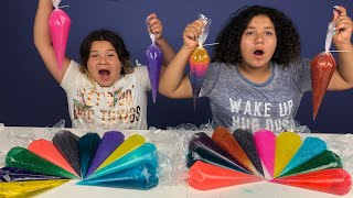 PIPING BAG SLIME CHALLENGE 3 COLORS OF GLUE SLIME CHALLENGE WITH PIPING BAGS!