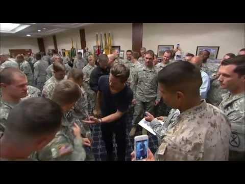 Fury: Brad Pitt, Logan Lerman & Shia LaBeouf Meet Soliders at Fort Benning