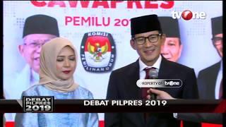 Sandiaga Uno Didampingi Istri Tiba di Lokasi Debat Pilpres 2019