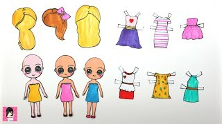 HOW TO MAKE PAPER DOLLS CLOTHES HOW TO DRAW DRESSES & ACCESSORIES PAPERCRAFT