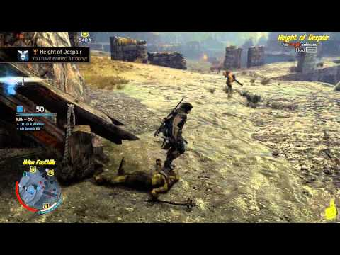 """Middle Earth Shadow of Mordor: """"Height of Despair"""" Trophy/Achievement - HTG"""