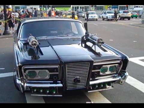 Black Beauty from Green Hornet at Comic Con, driving into truck for Los Angeles return