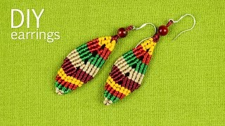 Multicolored Macramé Leaf Earrings - Tutorial