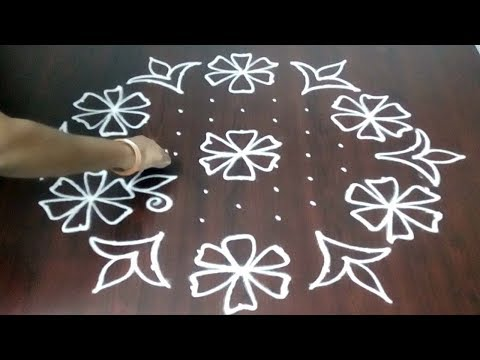 Easy 11 X 6 Rangoli Design  || Easy Muggulu For Beginners ||  New Kolam Design || Fashion World