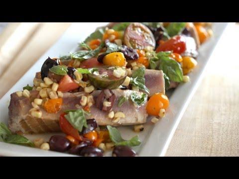 Whitney's Seared Ahi Tuna W/ Warm Veggie Salad Recipe    KIN EATS