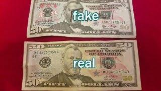 compare Fake $50 Bill from China vs. Real $50 USA Bill