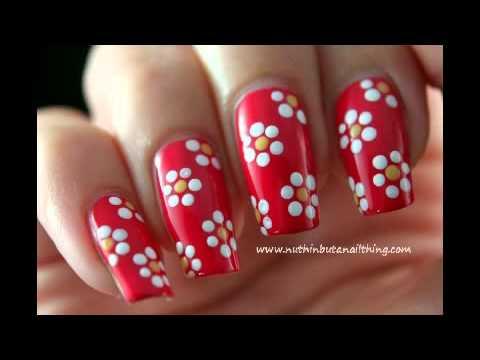 Diseño De Uñas Con Flores Paso A Paso - YouTube