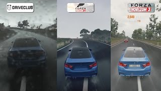 DriveClub vs Forza Horizon 2 vs Forza Horizon 3 - Rain Weather Comparison