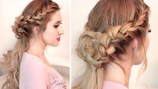 Полураспущенная причёска с косами, плетением, локонами ❤ На длинные волосы, самой себе