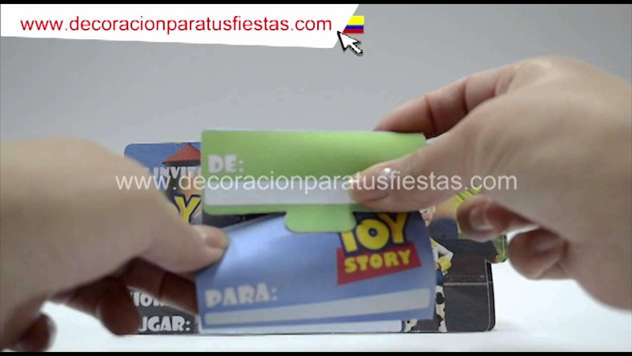Tarjetas de invitación para decoración infantil de cumpleaños de Toy Story YouTube