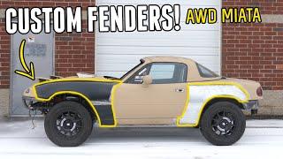PHASE TWO of the AWD MIATA Build Begins! - Fabricating Custom Fenders & Hood Scoop