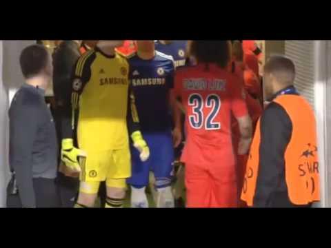David Luiz pushes Branislav Ivanovic on tunnel