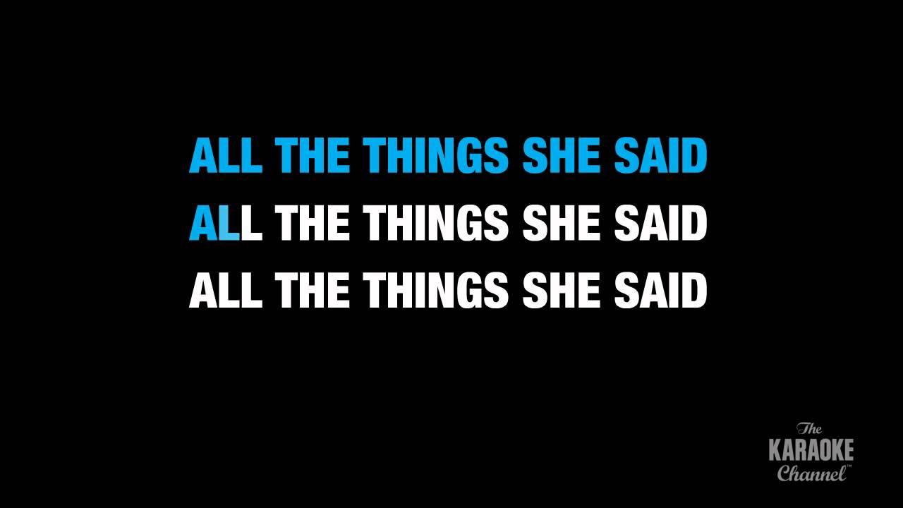 All the thing she said lyrics