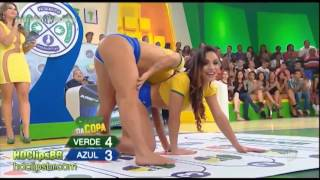 Barefoot Brazilian TV show - hot twister game