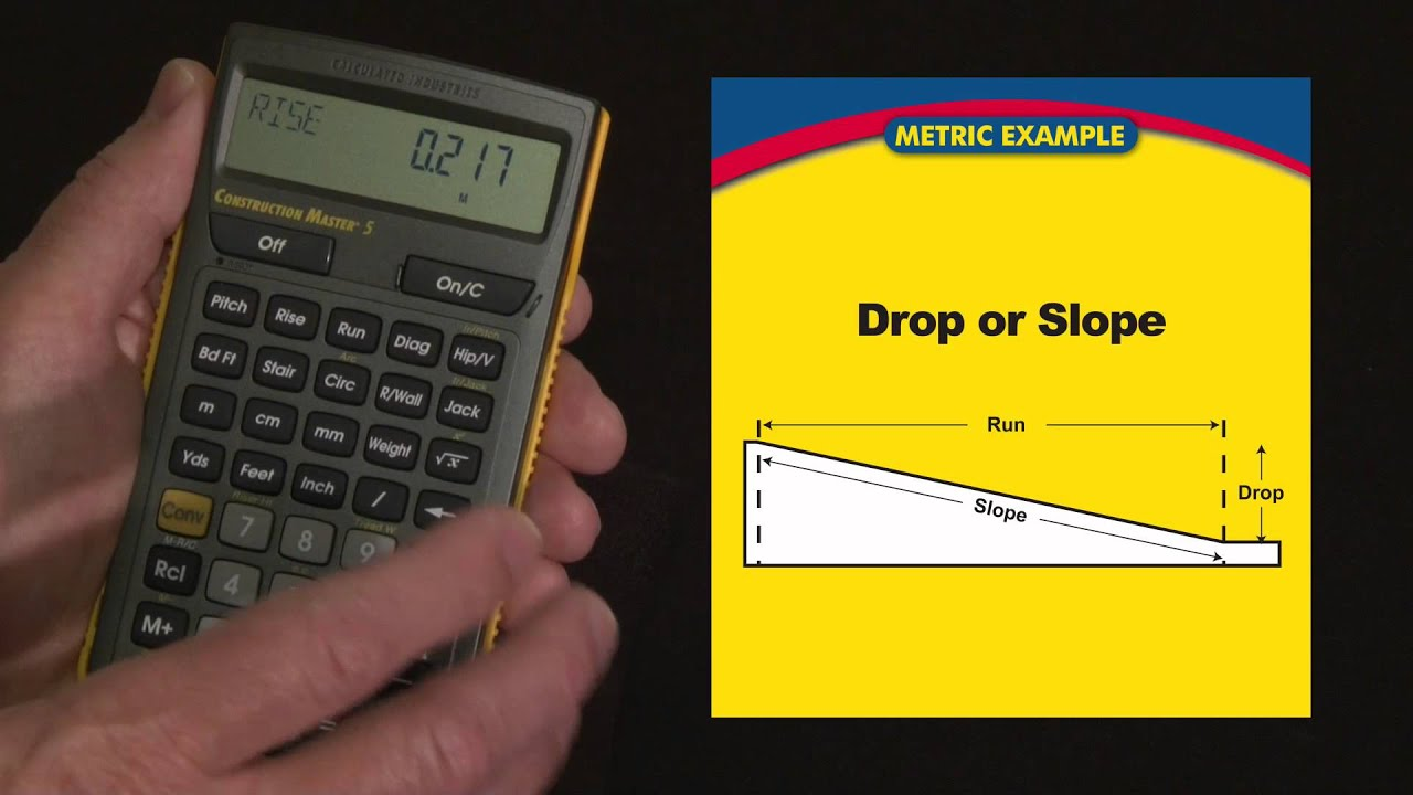 Construction master 5 metric drop or slope calculations for Drainage slope calculator