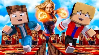 CORRIDA DE LUCKY BLOCK DA CAPITÃ MARVEL NO MINECRAFT !