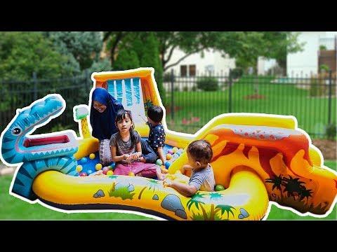 Unboxing kolam renang anak waterboom mini lucu - unboxing kids swimming pool with water slide