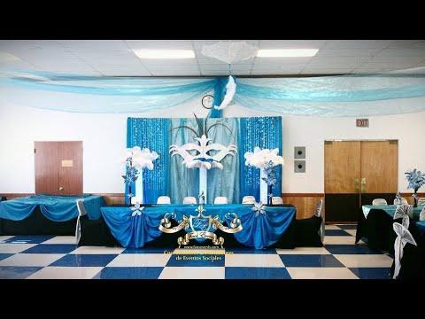 Faos events decoracion azul turquesa plata y negro youtube for Decoracion salon gris y turquesa