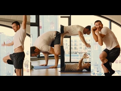Chris Evans Totally Fails at Yoga in 'Playing It Cool' Clip