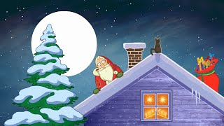 Santa Claus hurry for Christmas. Christmas songs & funny joke animation