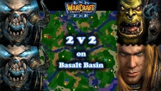 Grubby | Warcraft 3 The Frozen Throne | UDx2 v Orc & HU - Fun 2v2 on Basalt Basin