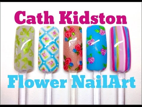 Cath Kidston Inspired Flower, Rose & Stripe Nail Art (CND Shellac)