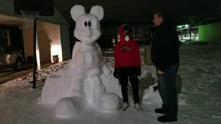 Owensboro's Zion Riley and His Mickey Mouse Snow Sculpture