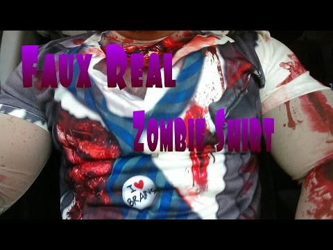Faux Real Zombie Shirt with Mesh Sleeves Size Large.
