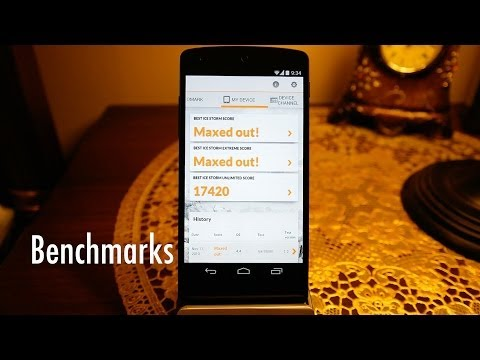 Nexus 5 Benchmarks (Geekbench 3, GFXBench, Sunspider, Rightware Browsermark, Antutu, Basemark X)