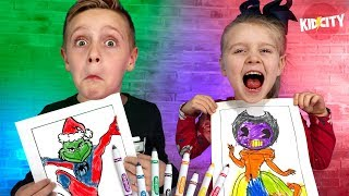 3 Marker Challenge RACE! Bendy, Lego Hello Neighbor, Spider-Grinch and More! KIDCITY