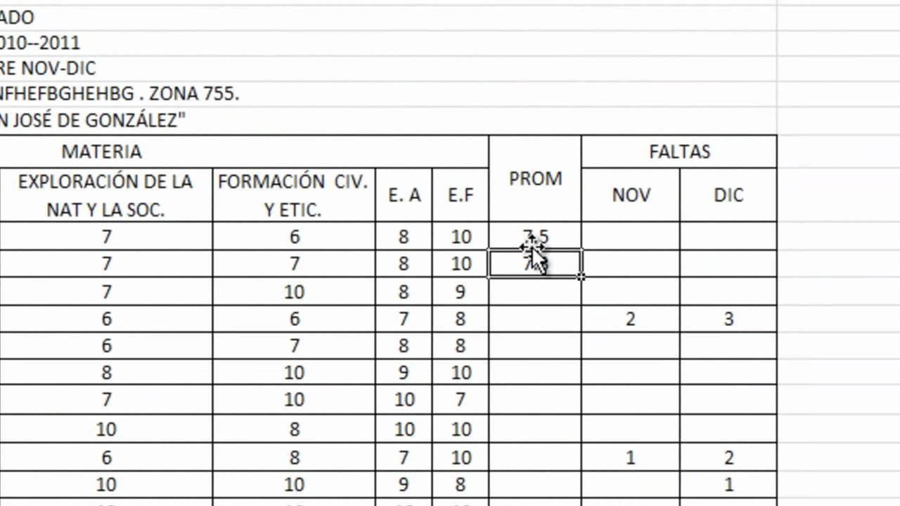 Tutorial Excel - Como Sacar El Promedio - YouTube