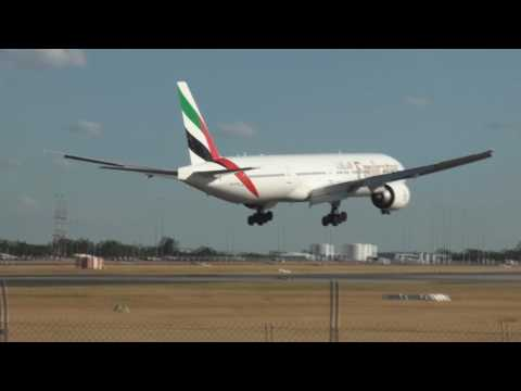 The heavys of Perth Airport!   ***Emirates 777-300ER and S.A.A A340-600***
