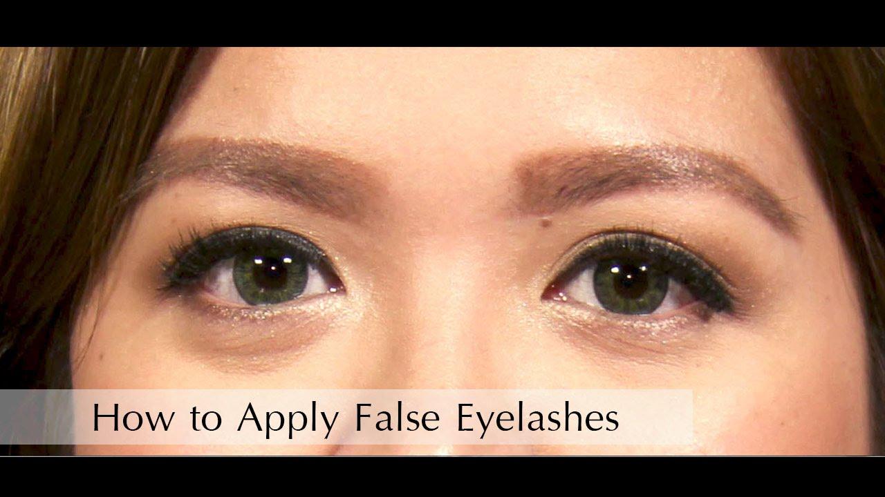 How to Apply False Eyelashes - YouTube