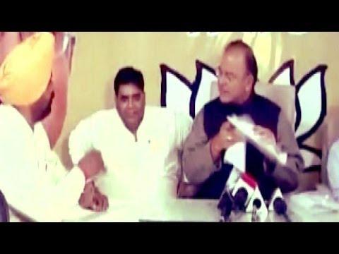Drama at BJP's Arun Jaitley news conference