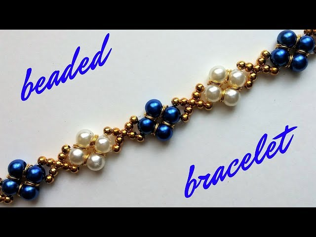 Beaded bracelet with pearls and jump rings. Beading tutorial-easy to make