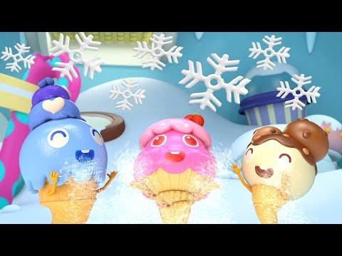 알록달록 아이스크림 눈싸움   즐겁게 놀아요~! 냠냠동요 아이스크림송 겨울동요 베이비버스  인기동요 BabyBus  ice cream song