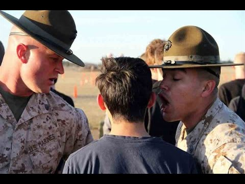 Marine Drill Instructor Hazes Kid