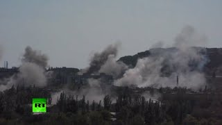 RAW: E. Ukraine city of Gorlovka under heavy bombardment