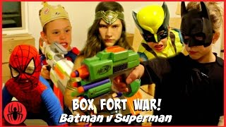 BOX FORT WAR! Nerf War Batman v Superman w Kid Deadpool Spiderman SuperHero Kids real life movie