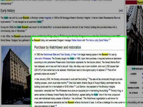 Testigos de Jehová (WIKIPEDIA-Nos habla del Hotel Bossert de la Watchtower S.A)