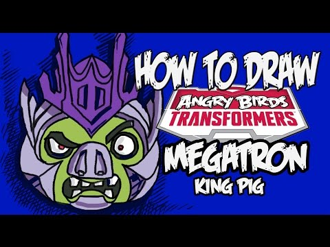 How to draw Megatron pig (Angry birds transformers)!!